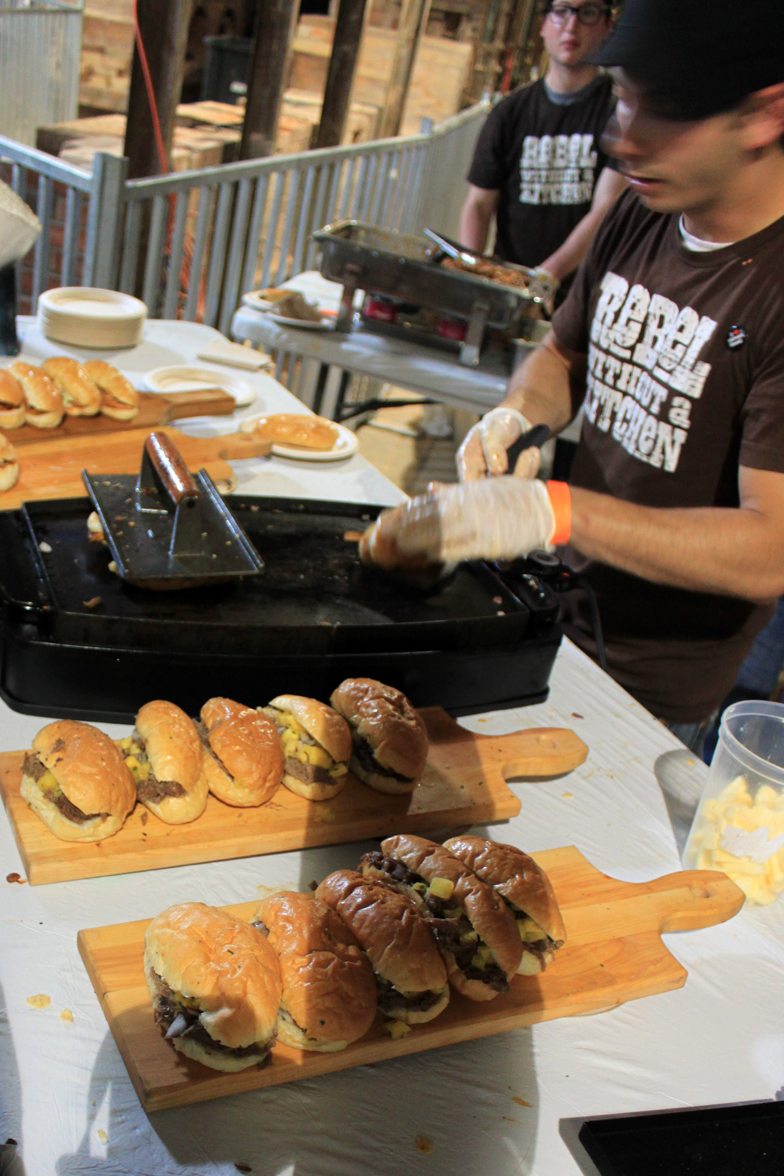 Matt Basile of Fidel Gastro's making sandwiches